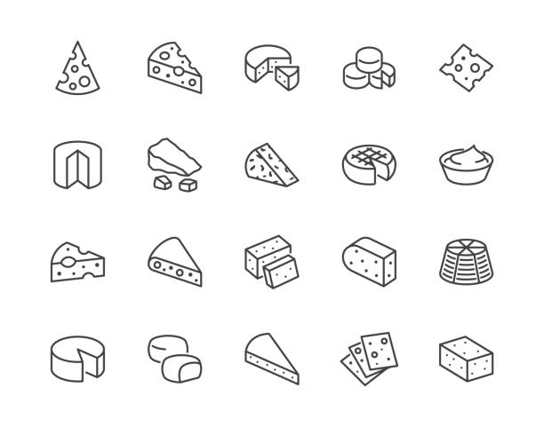 Cheese flat line icons set. Parmesan, mozzarella, yogurt, dutch, ricotta, butter, blue chees piece vector illustrations. Outline signs for dairy product store. Pixel perfect 64x64. Editable Strokes Cheese flat line icons set. Parmesan, mozzarella, yogurt, dutch, ricotta, butter, blue chees piece vector illustrations. Outline signs for dairy product store. Pixel perfect 64x64. Editable Strokes. mozzarella stock illustrations