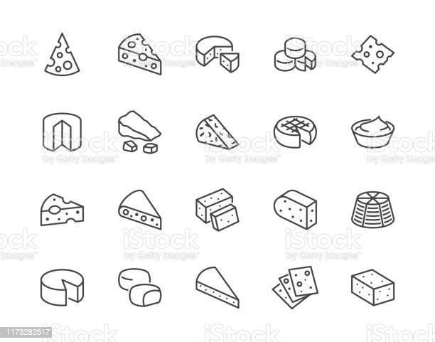 치즈 플랫 라인 아이콘 세트입니다 파르메산 모짜렐라 요구르트 네덜란드어 리코타 버터 블루 치즈 조각 벡터 일러스트레이션 유제품 매장의 개요 표지판 픽셀 완벽한 64x64 편집 가능한 0명에 대한 스톡 벡터 아트 및 기타 이미지