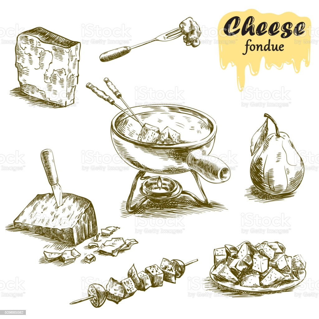 cheese fondue sketches vector art illustration