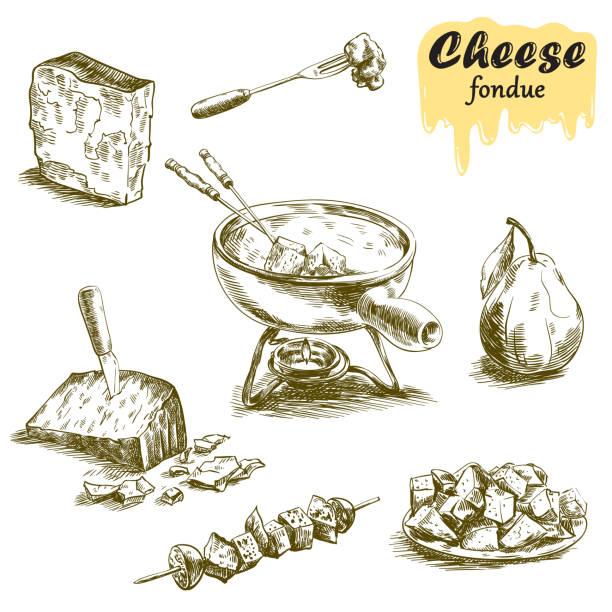 käsefondue skizzen - fondue stock-grafiken, -clipart, -cartoons und -symbole