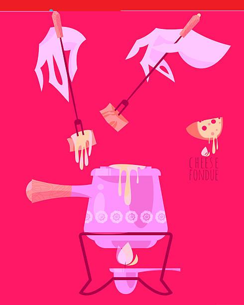 käsefondue. traditionelle schweizer gerichte. - raclette stock-grafiken, -clipart, -cartoons und -symbole