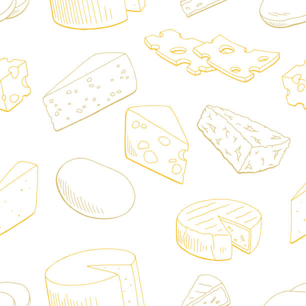illustrazioni stock, clip art, cartoni animati e icone di tendenza di cheese graphic yellow color seamless pattern sketch background illustration vector - formaggio