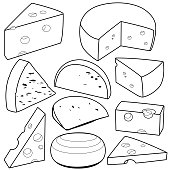 Various types of cheese. Black and white vector outline illustration