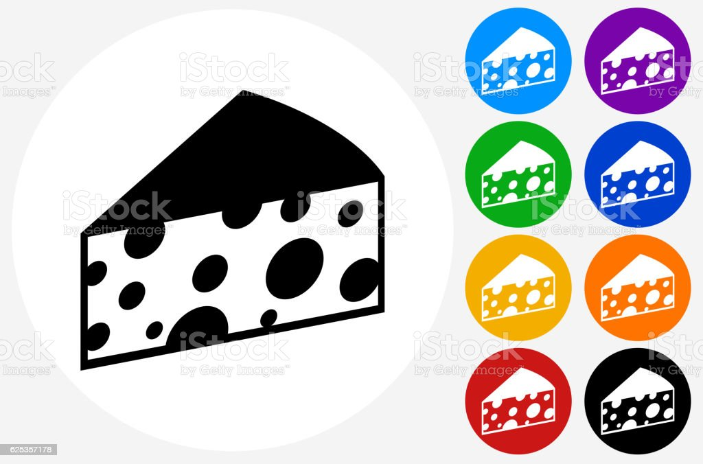 Cheese Icon on Flat Color Circle Buttons vector art illustration