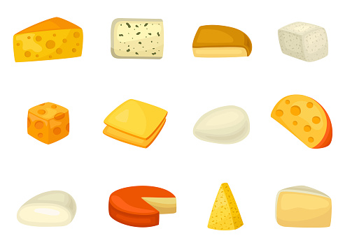 Cheese icon set, delicious and healthy assortment. Dairy product assortment. Vector flat style cartoon illustration isolated on white background