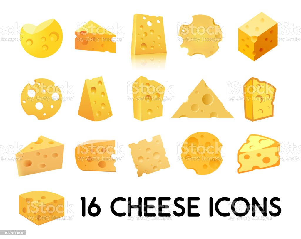 Cheese Icon Set isolated on white background. Vector illustration in EPS 10. - Векторная графика Без людей роялти-фри