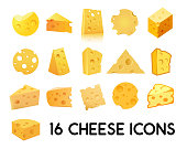 Cheese Icon Set isolated on white background. Vector illustration of Beautiful dairy products of different forms, EPS 10.