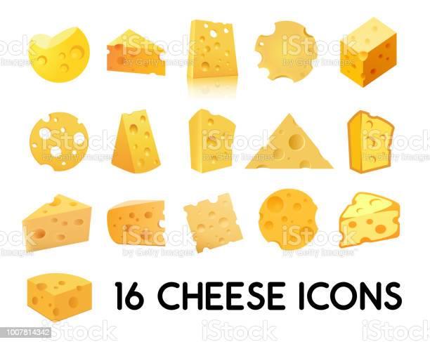 Cheese Icon Set Isolated On White Background Vector Illustration In Eps 10 — стоковая векторная графика и другие изображения на тему Без людей
