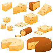 Vector illustrations of cheese.