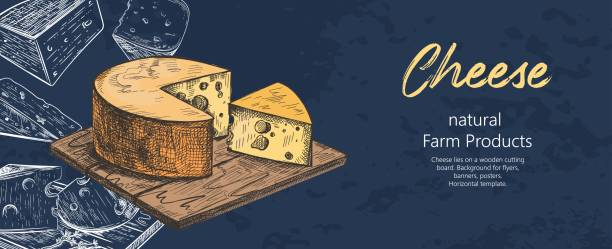 ilustrações de stock, clip art, desenhos animados e ícones de cheese lies on a wooden cutting board. different varieties of cheese. vintage. - queijo