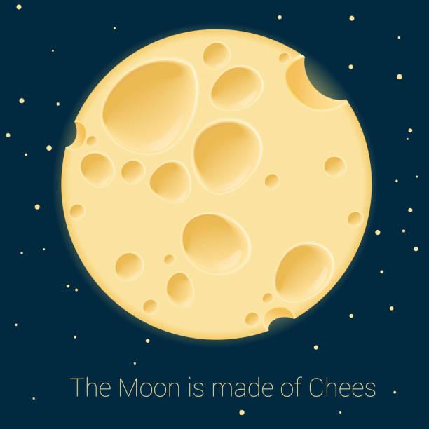 ilustrações de stock, clip art, desenhos animados e ícones de cheese moon. vector template. - queijo