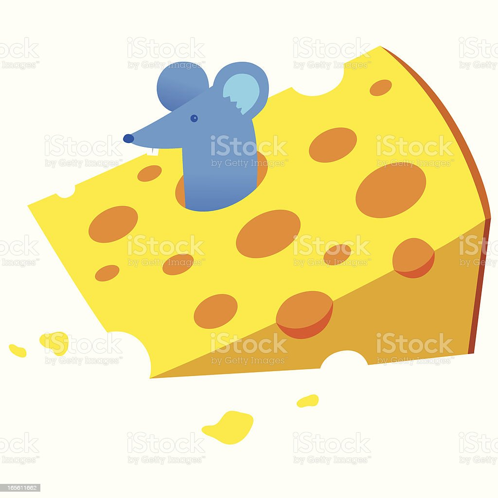 Cheese Mouse vector art illustration