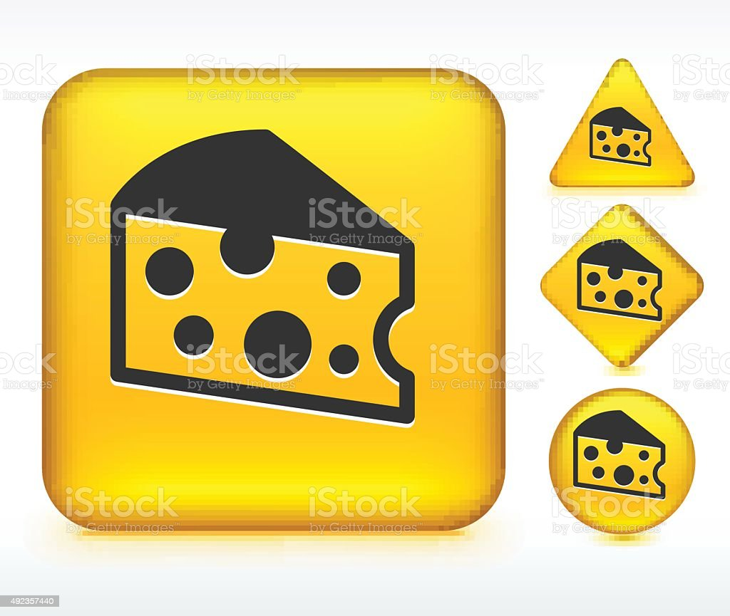 Cheese on Yellow Buttons vector art illustration