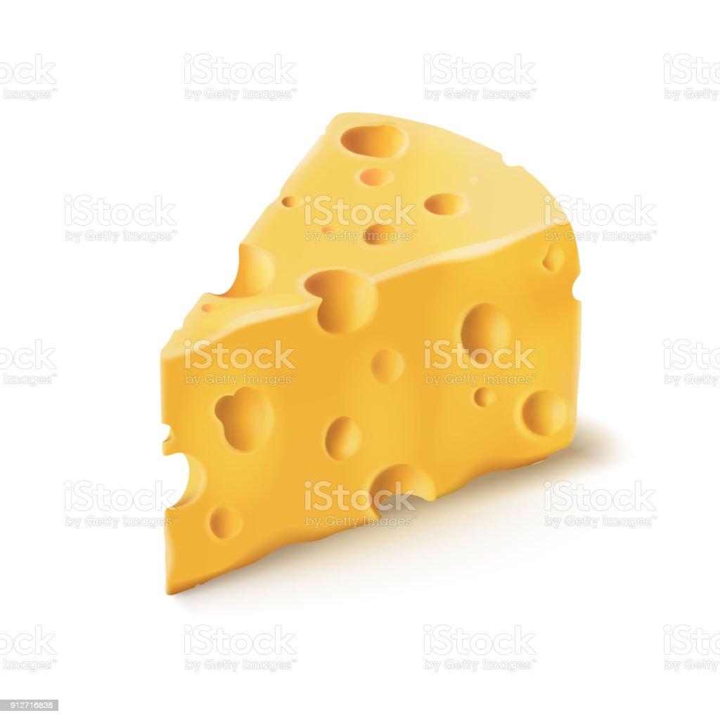 Сыр кусок с отверстиями вектор 3D реалистичные значок молочной пищи - Векторная графика Без людей роялти-фри