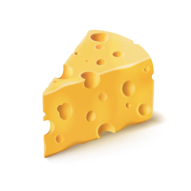 illustrazioni stock, clip art, cartoni animati e icone di tendenza di cheese piece with holes vector 3d realistic dairy food icon - formaggio