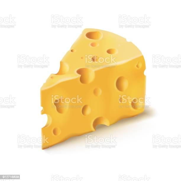Сыр Кусок С Отверстиями Вектор 3d Реалистичные Значок Молочной Пищи — стоковая векторная графика и другие изображения на тему Без людей