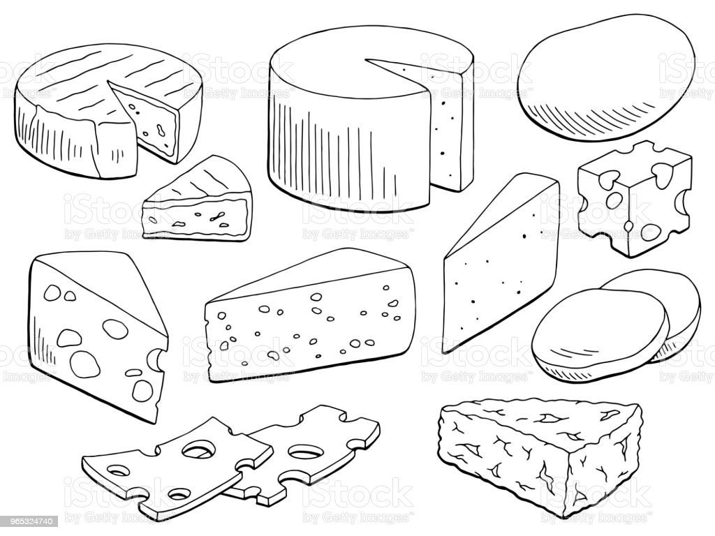 Cheese Set Graphic Black White Isolated Food Sketch Illustration