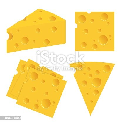 istock Cheese set vector illustration isolated on white background 1183331509