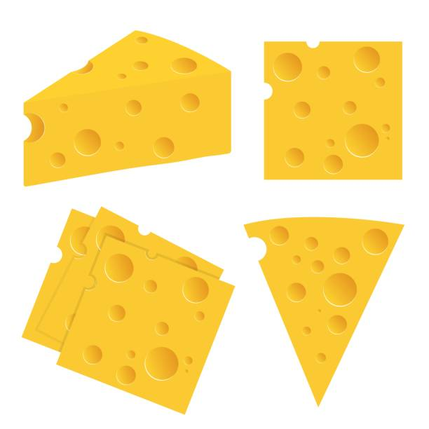 cheese set vector illustration isolated on white background - cheese stock illustrations