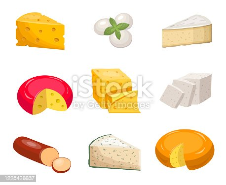 istock Cheese set. Yellow piece cheddar oval white mozzarella gouda slice blue mold roquefort. 1225426637