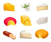 Cheese set. Yellow piece cheddar oval white mozzarella gouda slice blue mold roquefort smoked sausage chees slice vegetarian toffu feta, goat milk camembert. Fragrant color vector clipart.