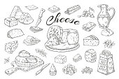 Cheese sketch. Hand drawn milk products, gourmet food slices, cheddar Parmesan brie. Vector breakfast vintage illustration pencil hand drawn