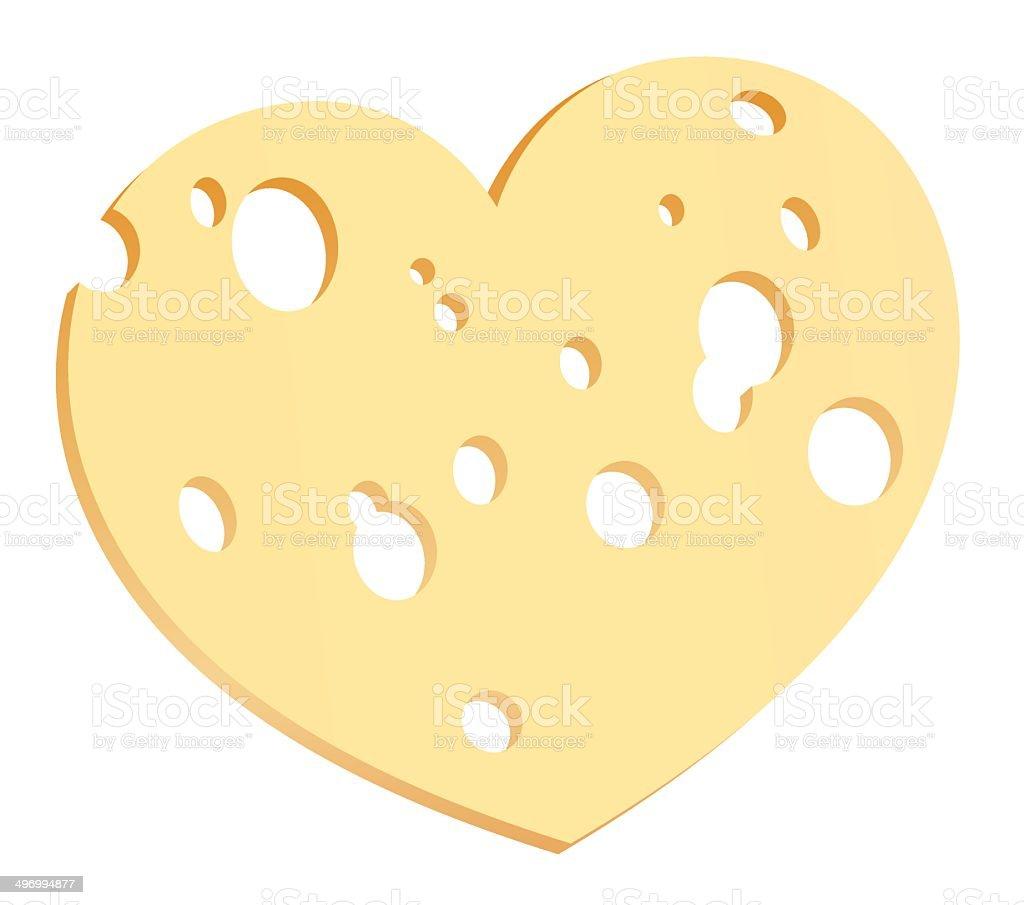Cheese Slice Heart vector art illustration