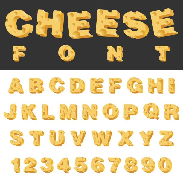 illustrazioni stock, clip art, cartoni animati e icone di tendenza di cheese slice isolated letters and numbers latin font. yummy food snack typeset alphabet collection. - formaggio