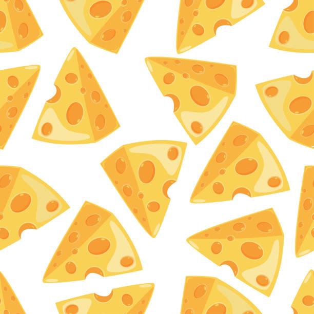ilustrações de stock, clip art, desenhos animados e ícones de cheese slice vector seamless pattern on a white background for wallpaper, wrapping, packing, and backdrop. - queijo