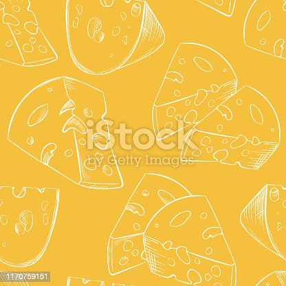 istock Cheese slices seamless pattern in cartoon style 1170759151