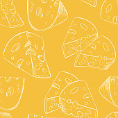 Cheese slices seamless pattern in cartoon style for game design, covering, wrapping and wallpapers for interior of food restaurant. Big pieces of maasdam or swiss type dairy product with holes.