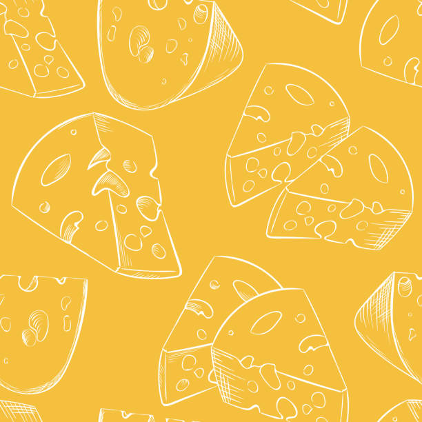 cheese slices seamless pattern in cartoon style - cheese stock illustrations