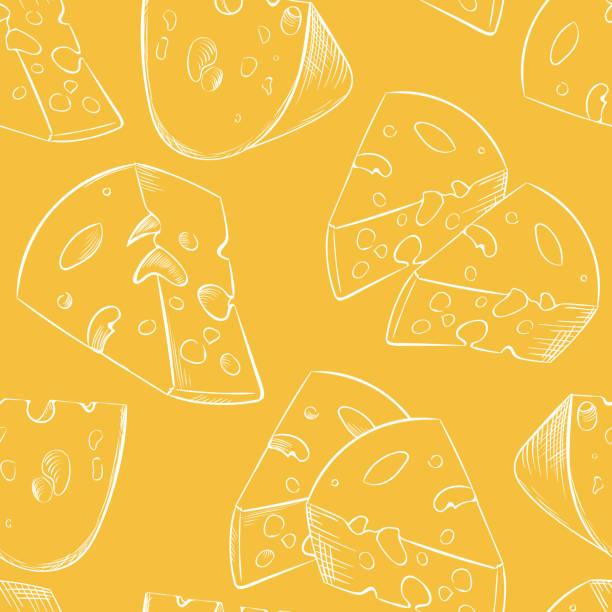 ilustrações de stock, clip art, desenhos animados e ícones de cheese slices seamless pattern in cartoon style - cheese