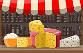 Cheese street market store stall. Farmer shop or showcase counter. Whole and piece of cheese cottage isolated on white. Milk dairy product. Organic healthy food. Vector illustration in flat style