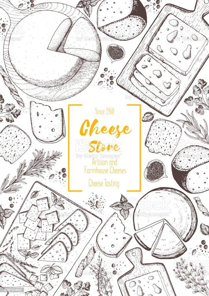 Käse-Ansicht von oben-Frame. Vektor-Illustration mit einer Sammlung von Käse. Gravierte Stilbilds. Molkerei Produkte. – Vektorgrafik