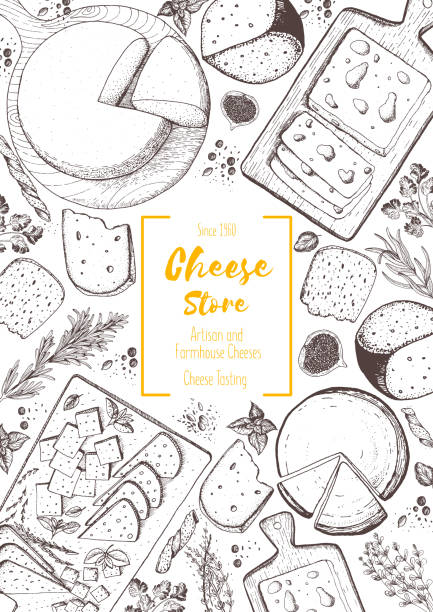 Cheese top view frame. Vector illustration with a collection of cheese. Engraved style image. Dairy farm products. vector art illustration
