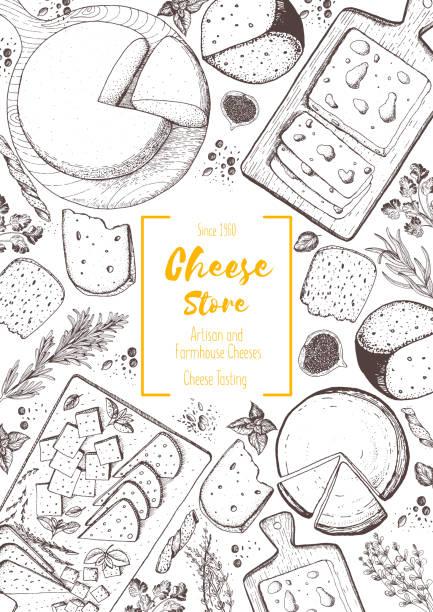 チーズの上面のフレーム。チーズのコレクションを持つベクトル イラスト。刻まれたスタイルのイメージ。酪農製品。 - フランス料理点のイラスト素材/クリップアート素材/マンガ素材/アイコン素材