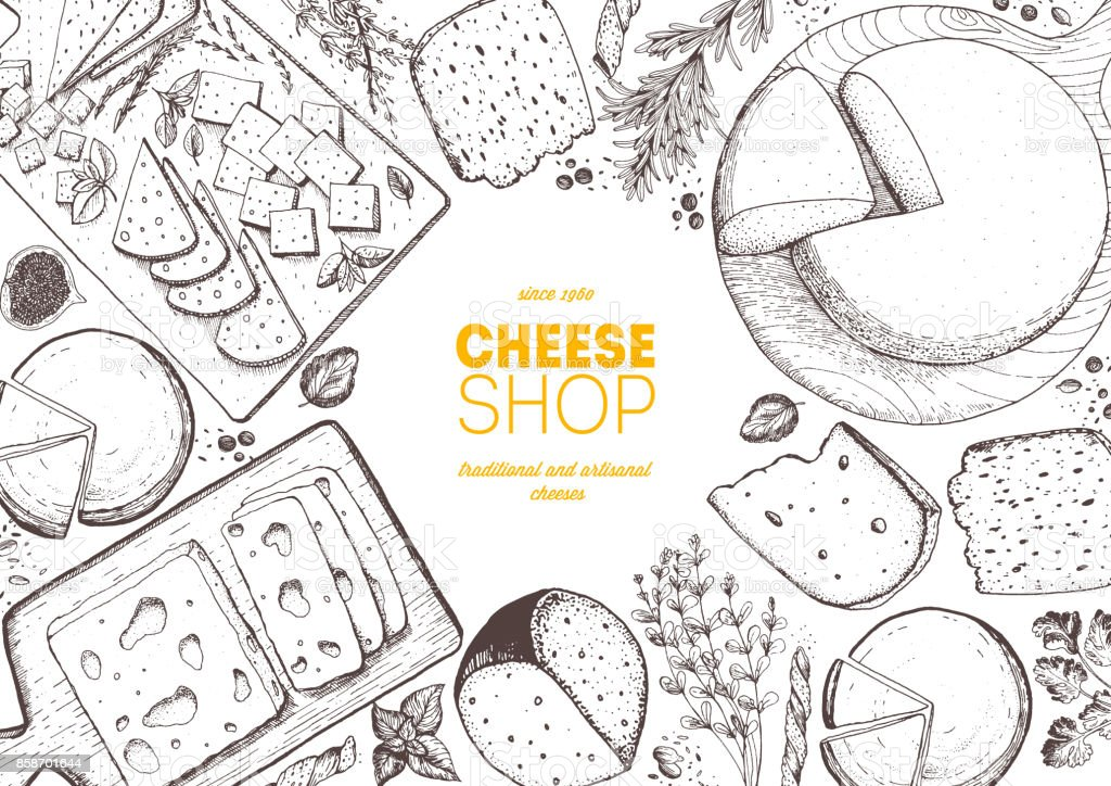 Cheese top view frame. Vector illustration with a collection of cheese. Engraved style image. Dairy farm products. - Royalty-free Arte Linear arte vetorial