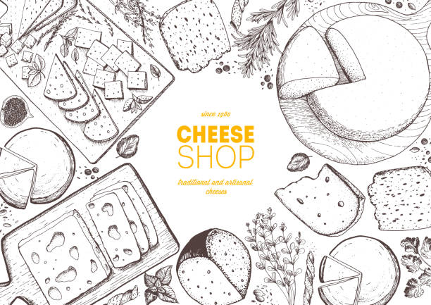 illustrazioni stock, clip art, cartoni animati e icone di tendenza di cheese top view frame. vector illustration with a collection of cheese. engraved style image. dairy farm products. - formaggio