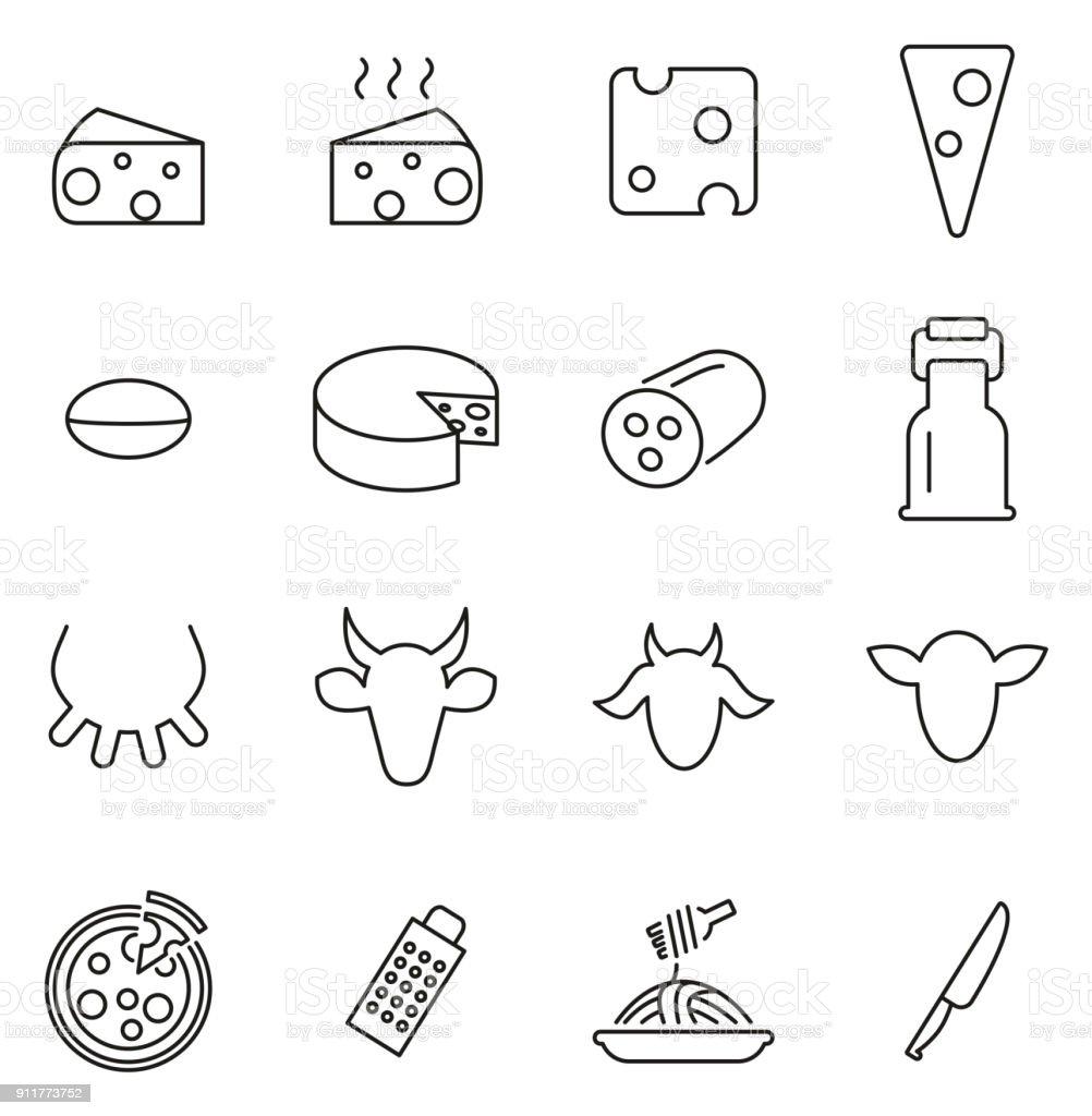 Cheese Type Icons Thin Line Vector Illustration Set vector art illustration