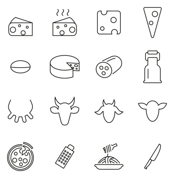 illustrazioni stock, clip art, cartoni animati e icone di tendenza di cheese type icons thin line vector illustration set - formaggio