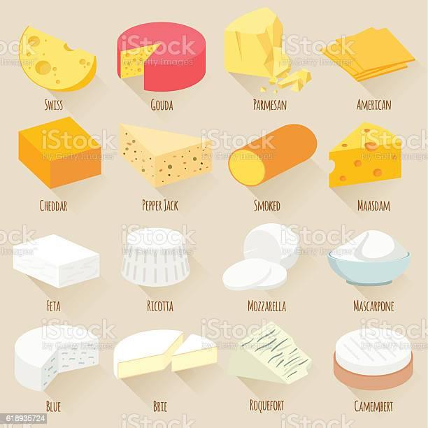 Cheese Varieties Flat Design Vector Icon Set — стоковая векторная графика и другие изображения на тему Без людей