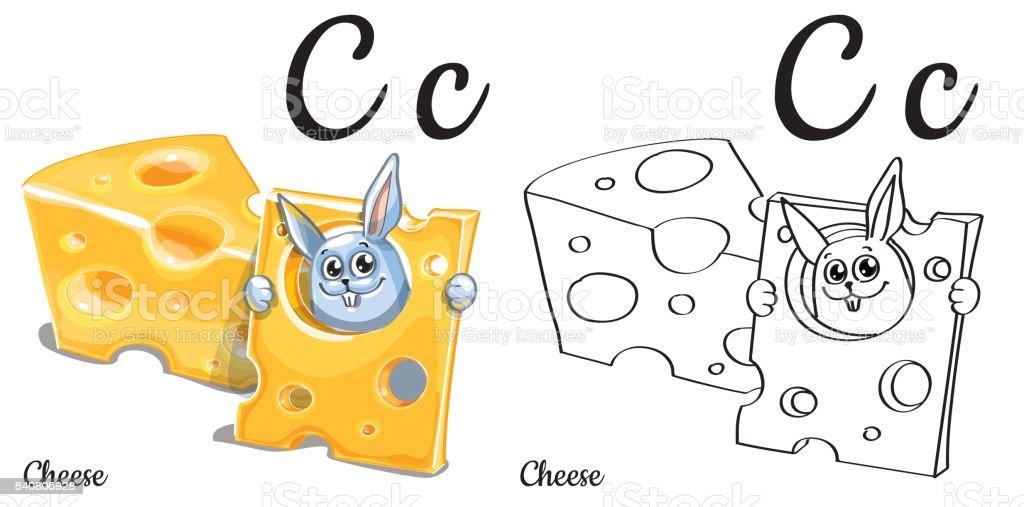 Peynir Vektör Alfabe Harf C Sayfa Boyama Stok Vektör Sanatı Alfabe
