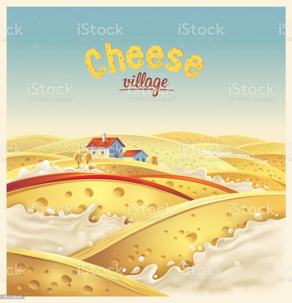 Cheese village Cheese village - fictional landscape. Cheese slices in the milk splashes, vector illustration. Abundance stock vector