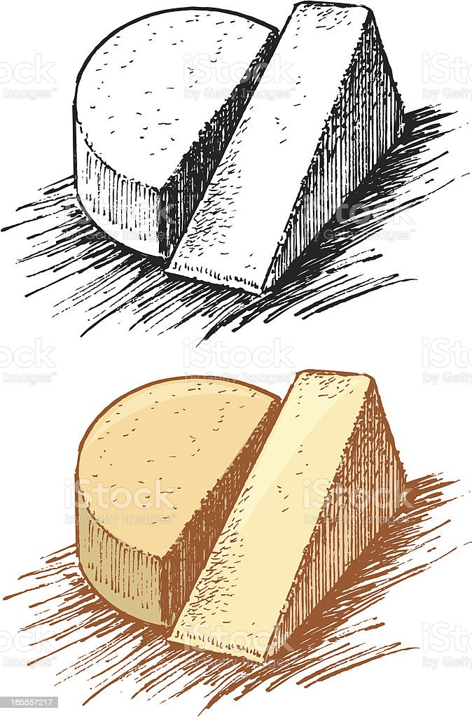 Cheese Wedge and Wheel royalty-free stock vector art