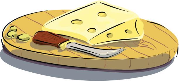 Cheeseboard, Knife and Cheese.