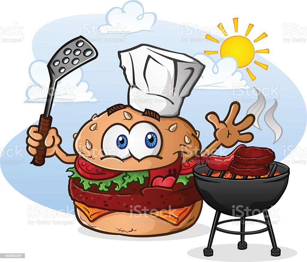 Cheeseburger Cartoon Chef Grilling vector art illustration