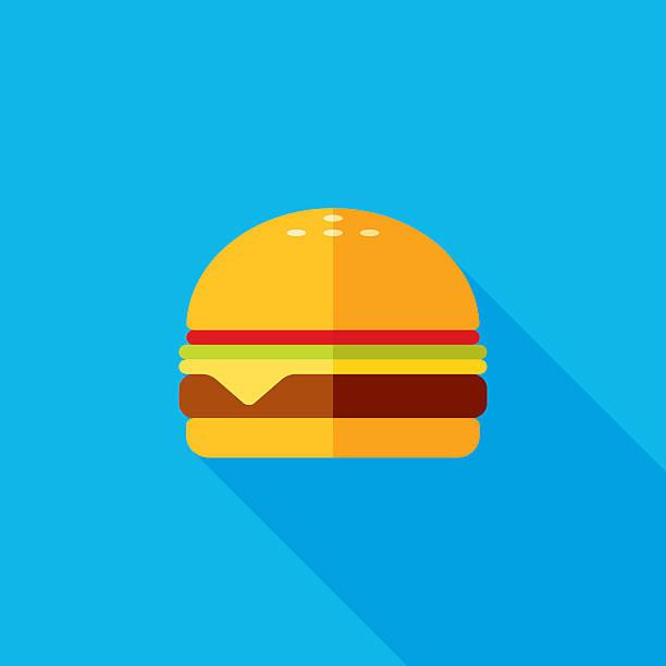 Cheeseburger Flat Long Shadow Icon A modern cheeseburger vector icon with long shadow effect. cheeseburger stock illustrations