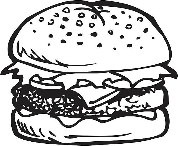 cheeseburger line art - burgers stock illustrations, clip art, cartoons, & icons