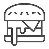 Cheeseburger line icon, Street food concept, burger sign on white background, hamburger icon in outline style for mobile concept and web design. Vector graphics